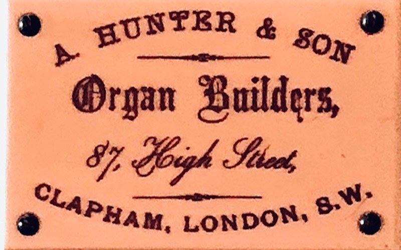 A Hunter & Son organ builders