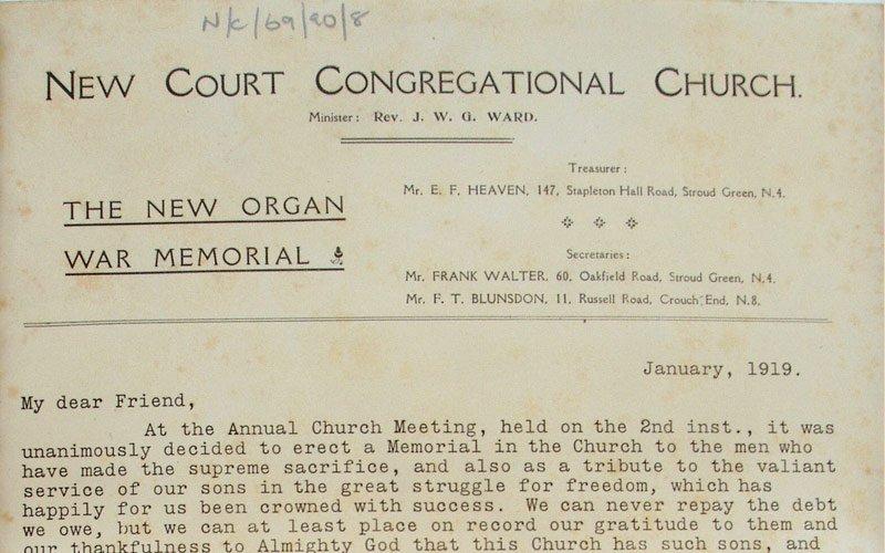 New Court war memorial letter