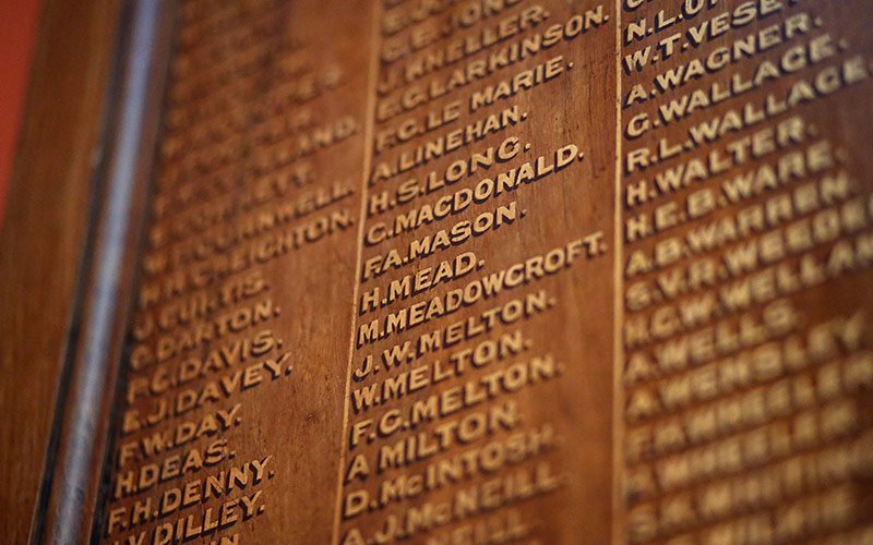 List of soldiers' names on the organ memorial plaque