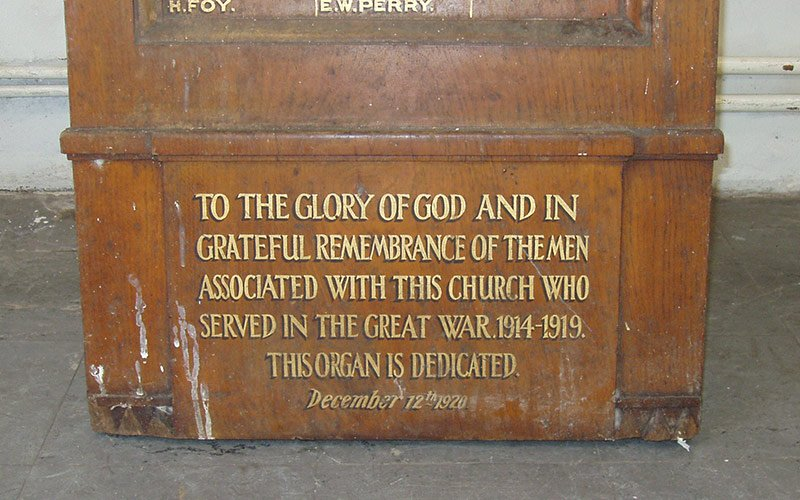 Commemorative plaque, for First World War soldiers of New Court Church