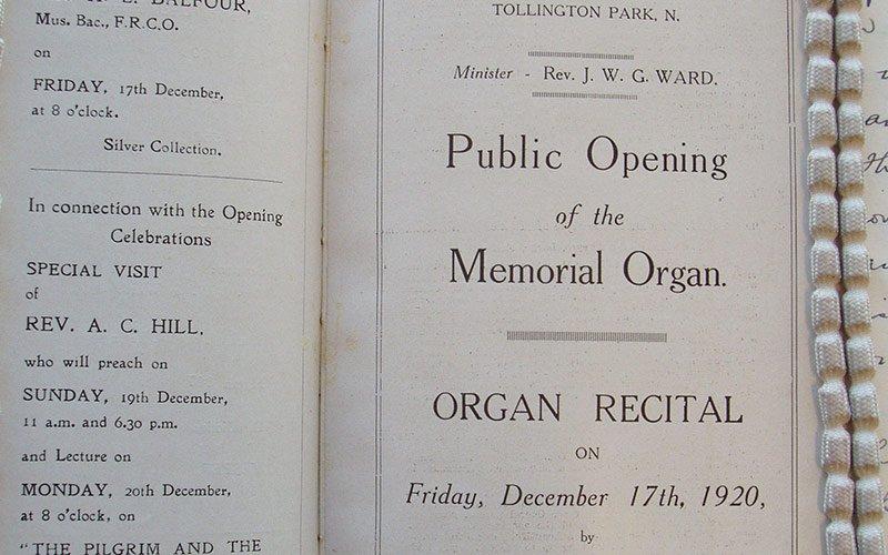 Public Opening of the Memorial Organ: programme