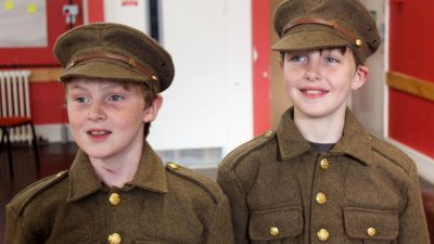 Boys In First World War Uniforms At Workshop