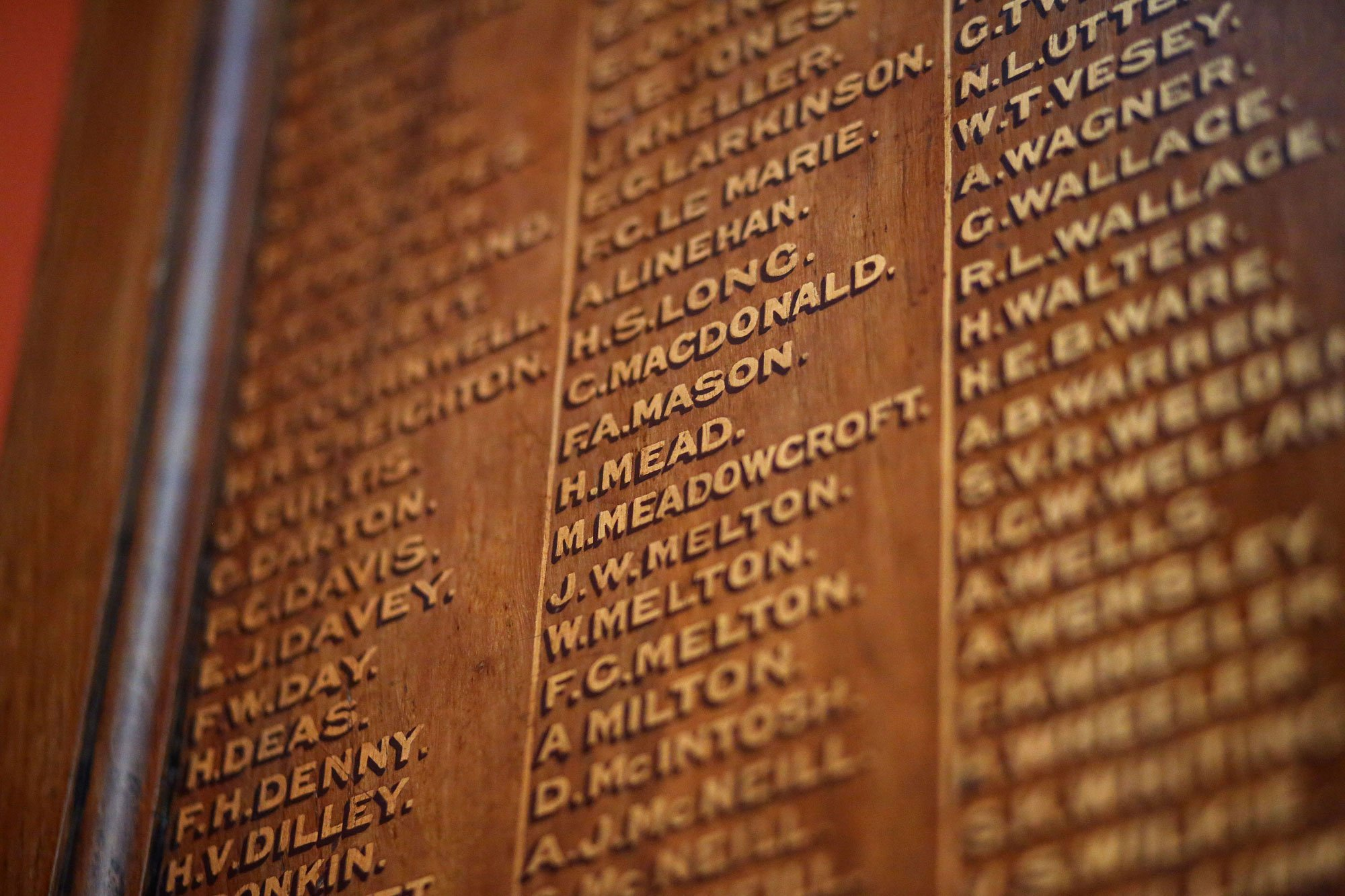 Names Of Soldiers On Commemorative Plaque