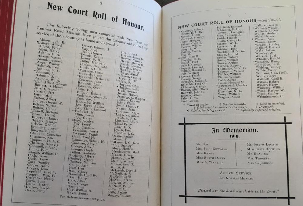 Roll of Honour 1919 from New Court Church Manual. London Metropolitan Archives, N/C/69/137