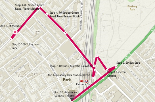 Stroud Green Musical Heritage Podtour Map