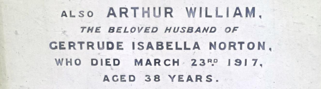 Close Up Of Gravestone Of Arthur Norton